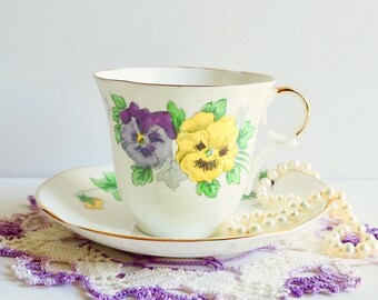 Antique Victoria C & E Hand Painted 'Pansy' Teacup and Saucer, Purple and Yellow Pansies, England. Vintage Tea Gift, Vintage Tea Party