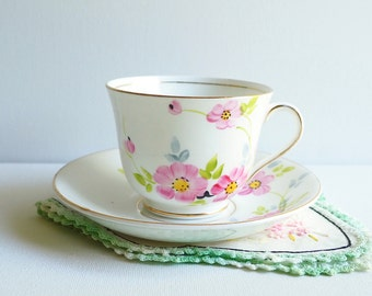 Vintage Woodlands Teacup & Saucer, England. Hand Painted Pastel Pink Florals with Greenery, Gold Gilding. Granny Chic Vintage Tea Party