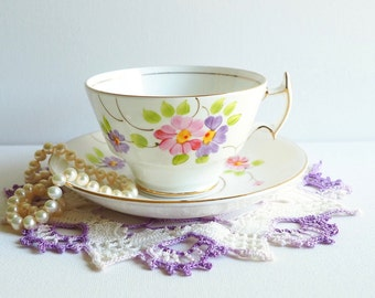 Vintage Woodlands Teacup & Saucer, England. Pastel Pink and Purple Hand Painted Florals, Asian Style Handle, Gold Gilding. Granny Chic Style