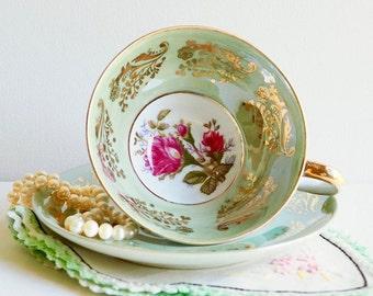 Vintage Royal Sealy Moss Rose Lusterware Teacup & Saucer, Japan. Pastel Green with Gold Floral Embellished Borders, Wide Pedestal Cup