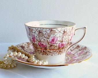 Vintage Rosina 5156 Teacup & Saucer, Pastel Pink Florals Brown Sepia Leaves, England. Vintage Tea Party, Vintage Gift