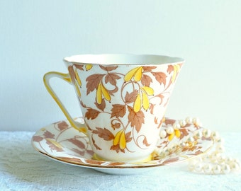 Vintage Royal Grafton A B Jones Teacup & Saucer, England. Yellow Hand Painted Florals and Sepia Toned Leaves, Yellow Trim. Vintage Tea Gift