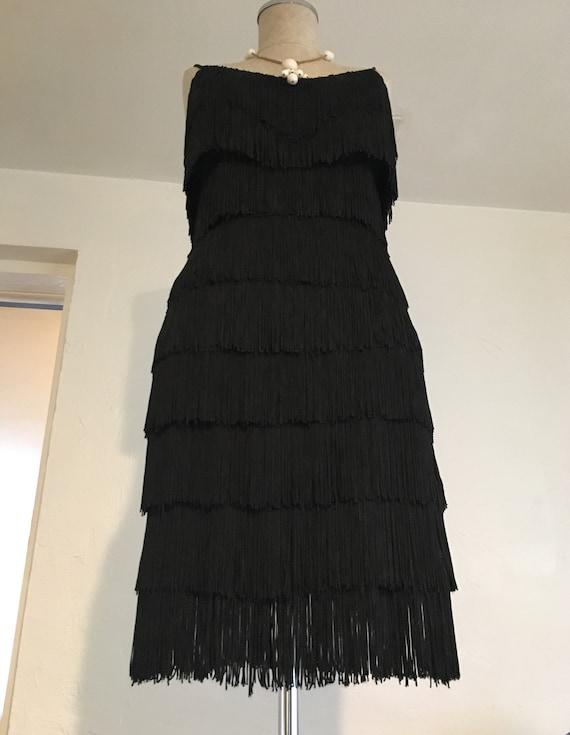 Black Flapper fringe dress