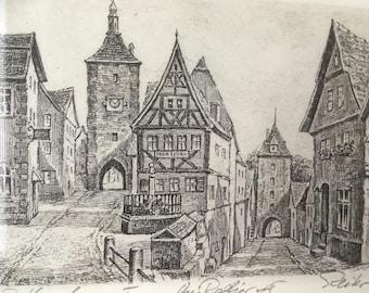 German Limited Edition Ink Etching Rothenburg ob der Tauber historical town landscape / Framed art original / gift