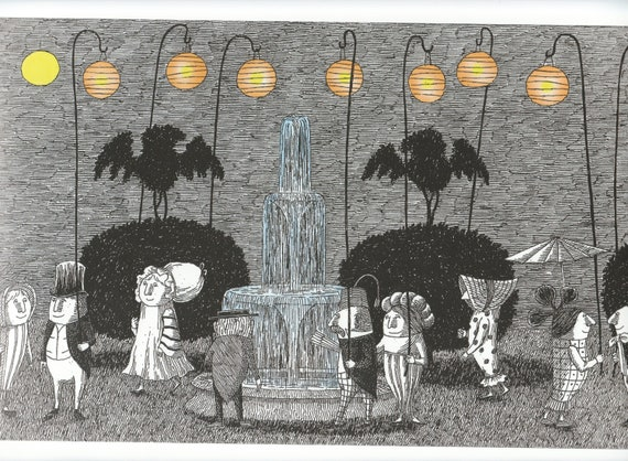 "EDWARD GOREY Untitled Drawing Passing Letters 10/""x 15/"" Wall Art Poster Book Page"
