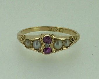 A Victorian Ruby, Diamond and Pearl 18k Ring