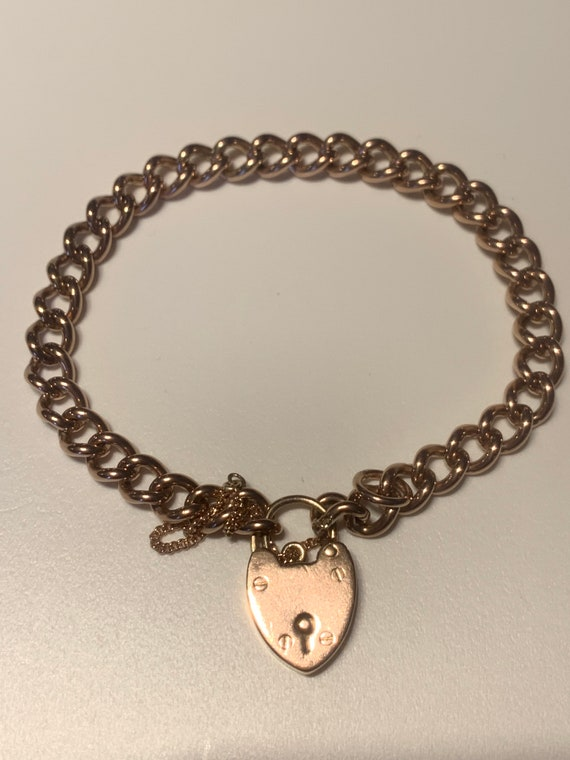 Antique Heavy Bracelet With Heart Padlock