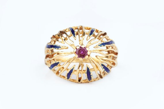 A 1960s Cocktail Ring 18k Gold - image 1