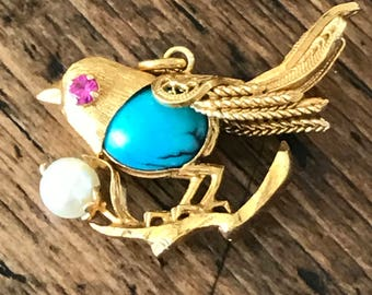 14k Gold Ruby, Pearl, and Turquoise Bird Charm