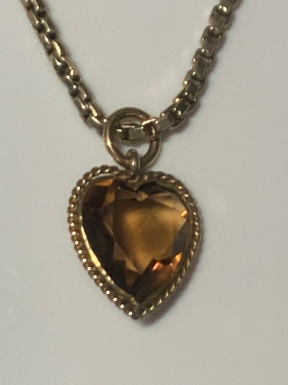 Citrine Heart Gold Edwardian Necklace