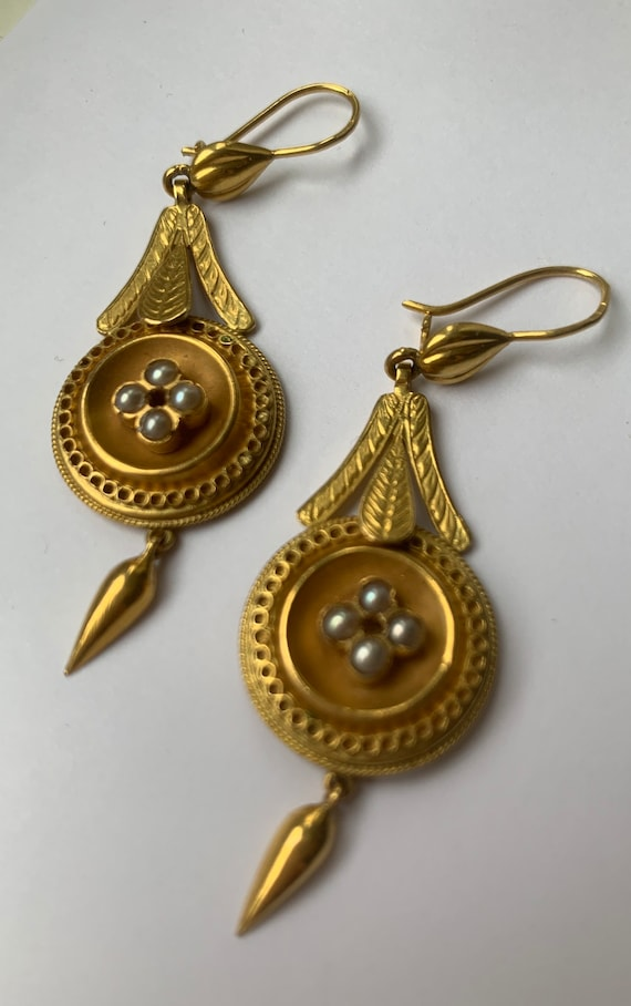 Antique Victorian Gold And Pearl Earrings