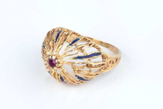 A 1960s Cocktail Ring 18k Gold - image 2
