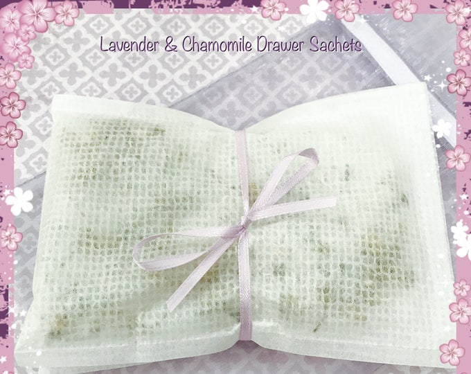 Lavender & Chamomile Scented Drawer Sachets Set of Two