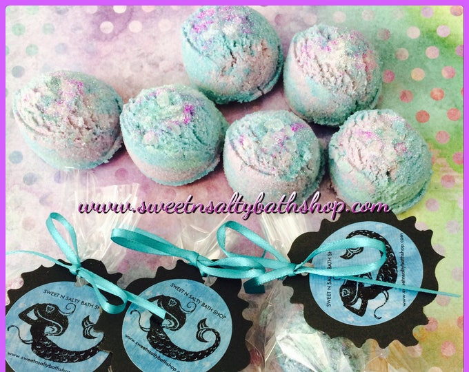 Personalized Mermaid Kisses Fizzing Bath Truffles Party Favors