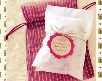 Holiday Scented Drawer Sachets Set of Two- Balsam Cedar, Teakwood Cardamom or Wintery Candy Apple Scent