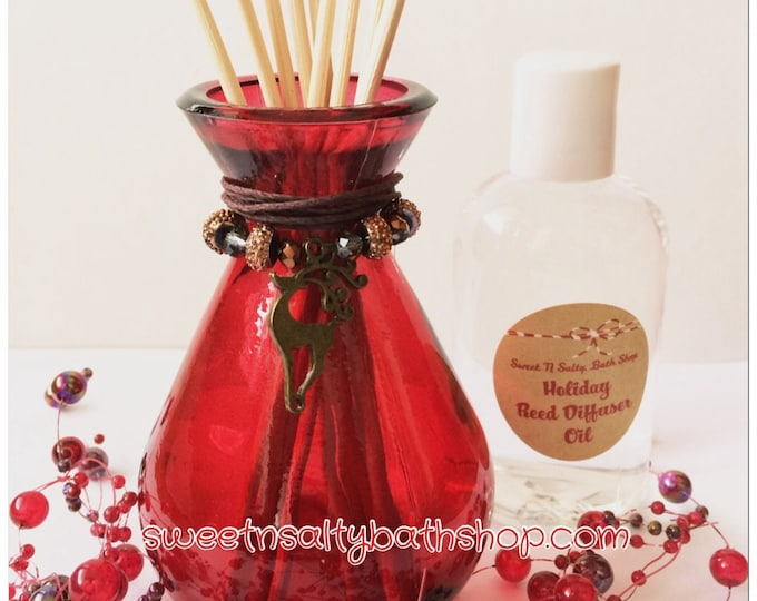 Charmed Reindeer Holiday Red Glass Reed Diffuser Gift Set-Choose You/Wintery Candy Apple/Candy Cane/Balsam Cedar and More!