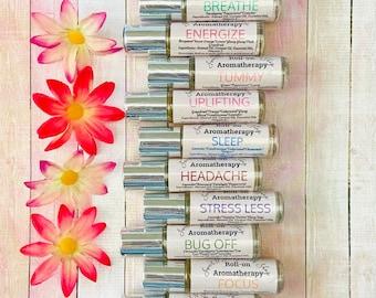 Aromatherapy Oils-Energize,Sleep,Breathe,Tummy,Headache & More