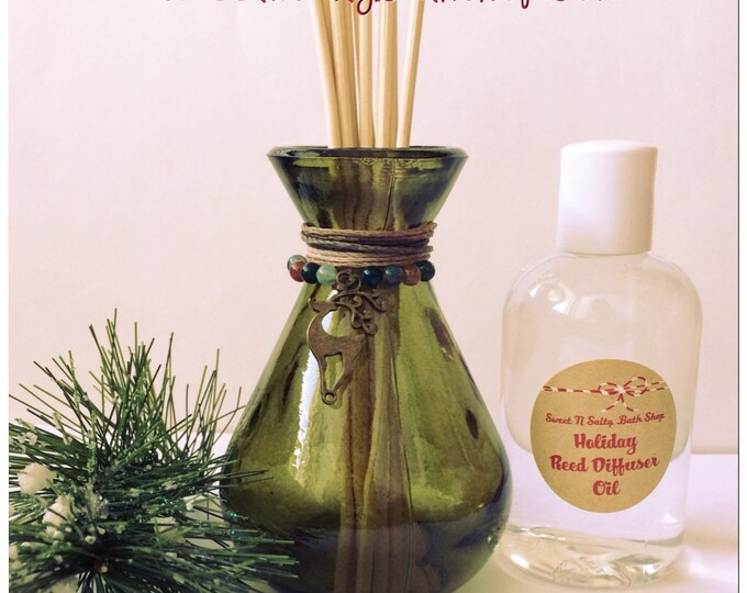 Reindeer Charmed Holiday Green Glass Reed Diffuser Gift Set-Choose You/Wintery Candy Apple/Candy Cane/Balsam Cedar and More!