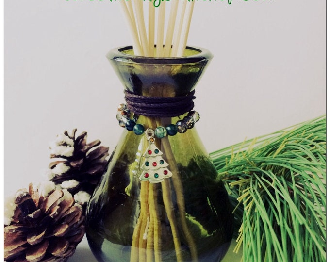 Charmed Christmas Tree Holiday Green Glass Reed Diffuser Gift Set-Choose You/Wintery Candy Apple/Candy Cane/Balsam Cedar and More!