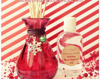 Charmed Snowflake Holiday Red Glass Reed Diffuser Gift Set-Choose You/Wintery Candy Apple/Candy Cane/Balsam Cedar and More!