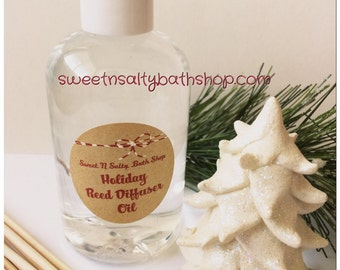 Holiday Reed Diffuser Oil Refill 8 oz. with Reeds-Choose Your Scent/Candy Cane/Wintery Candy Apple/Balsam Cedar/Mulberry and More!