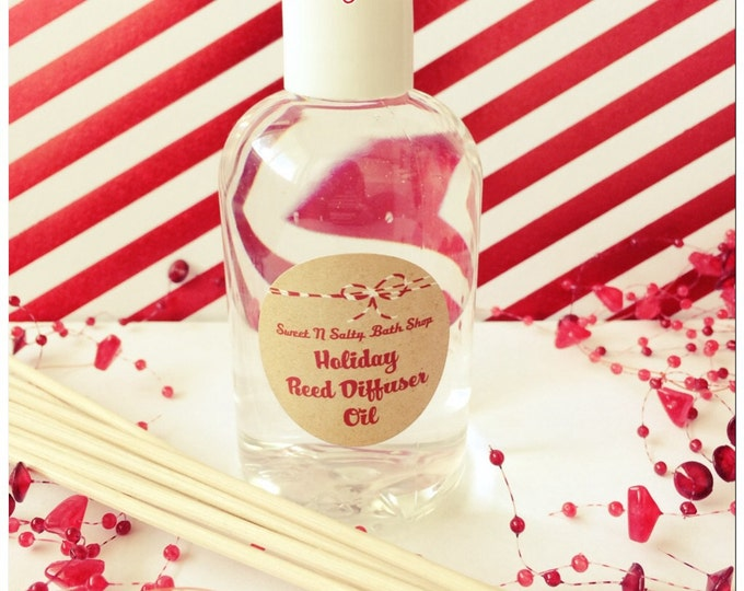 Holiday Reed Diffuser Oil Refill 4 oz. with Reeds-Choose Your Scent/Candy Cane/Sugar Plum/Sweet Pumpkin Spice and More!