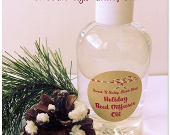 Holiday Reed Diffuser Oil Refill 4 oz. with Reeds-Mistletoe Kisses/Frankincense & Myrrh and More!