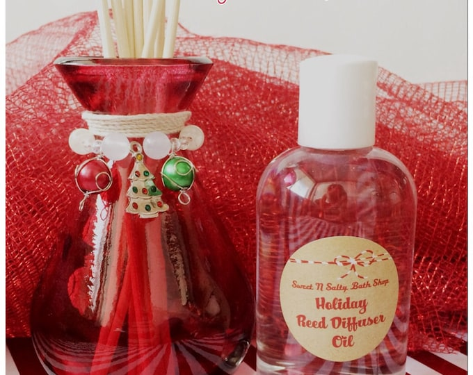 Charmed Christmas Tree Holiday Red Glass Reed Diffuser Gift Set-Choose You/Wintery Candy Apple/Candy Cane/Balsam Cedar and More!