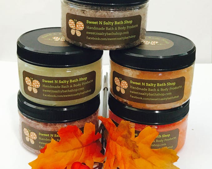 NEW!! Autumn Scents-Hand & Body Scrub-Pumpkin Spice/Gingered Peach/Cinnamon Apple/Cranberry Orange/Toasted Marshmallow