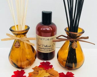 Jeweled Amber Glass Reed Diffuser Gift Set-Choose Your Scent