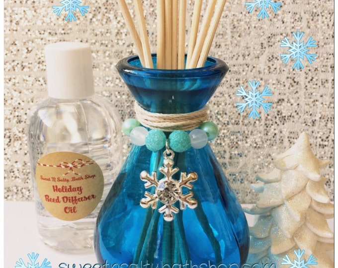 Blue Charmed Snowflake Holiday Reed Diffuser Gift Set-Choose Your Scent/Wintery Candy Apple/Balsam Cedar/Mulberry and More!