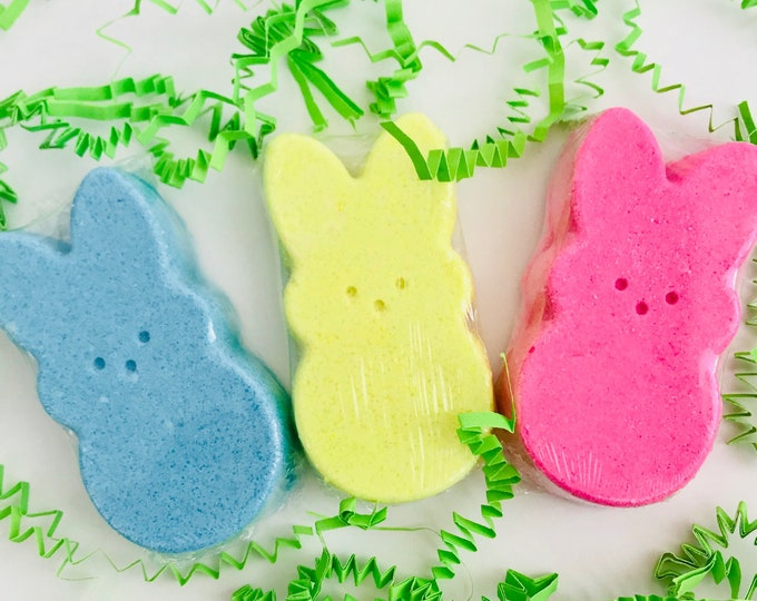 Featured listing image: Pink Sugar & Marshmallow Scented Bunny Bath Fizzies Set of 3