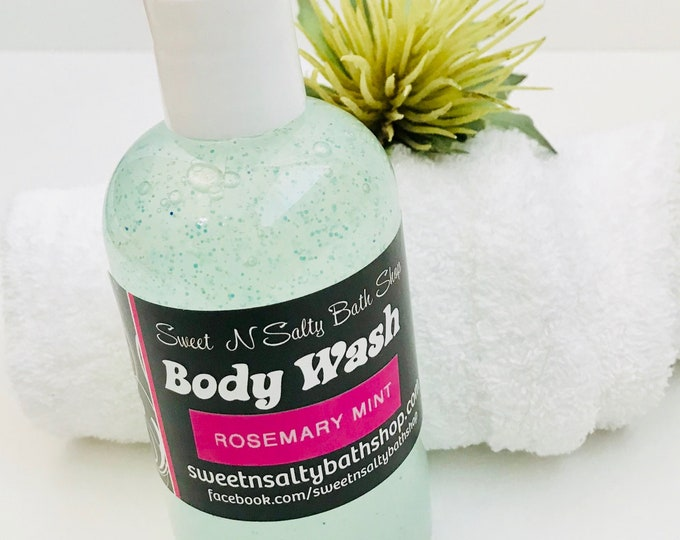 Rosemary Mint Exfoliating Shower Gel/Body Wash-More Scents to Choose From