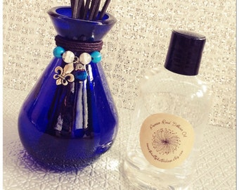 Royal Blue Glass Reed Diffuser Gift Set-Choose Your Scent & Charm