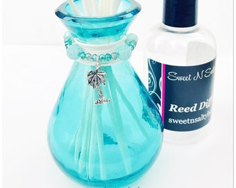 Aqua Beaded Glass Reed Diffuser with Palm Tree Charm Gift Set-Choose Your Scent