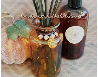 Autumn Jewel Reed Diffuser Gift Set/Choose From Several New Fall Scents/Orange Cranberry/Sweet Pumpkin Spice/Caramel Apple and More!