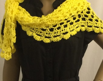 Clothing/Shawl/yellow shawl/triangle shawl/crochet shawl/scarf/wrap/crochet cover up/women accessories/beach wear/plus size/handmade