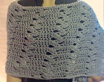 Grey shawl/crochet shawl/crochet capelet/gift for her/crochet wrap/long scarf/women's accessories/crochet clothing/cape/shawl/plus sized