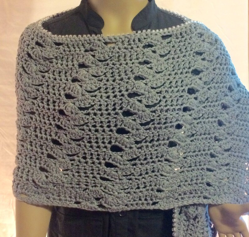Grey shawl/crochet shawl/crochet capelet/gift for her/crochet image 1