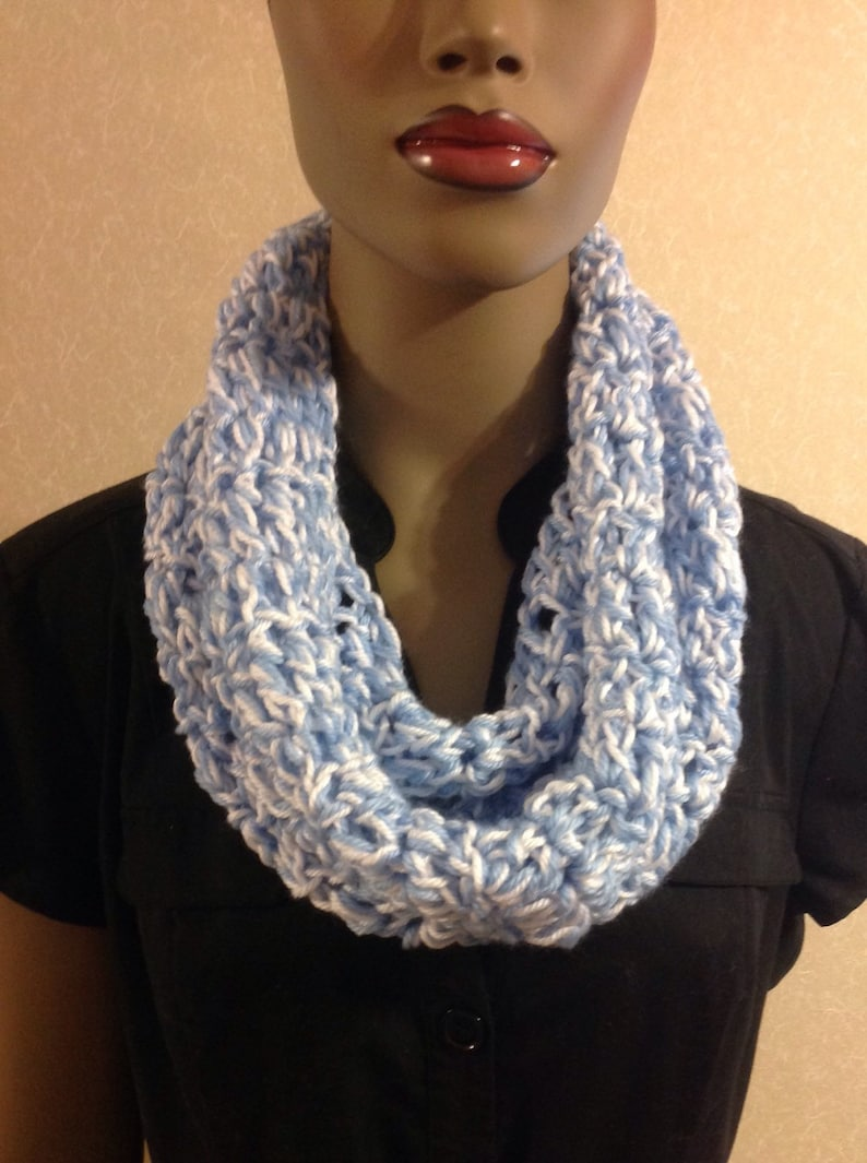 Crochet circle scarf/Mother's Day gift/crochet cowl/blue & image 0