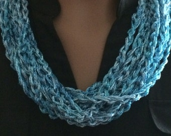 Crochet jewelry/blue necklace/gift for her/ loop necklace/women's accessories/circle scarf/crochet cowl/crochet scarf/loop scarf/jewelry