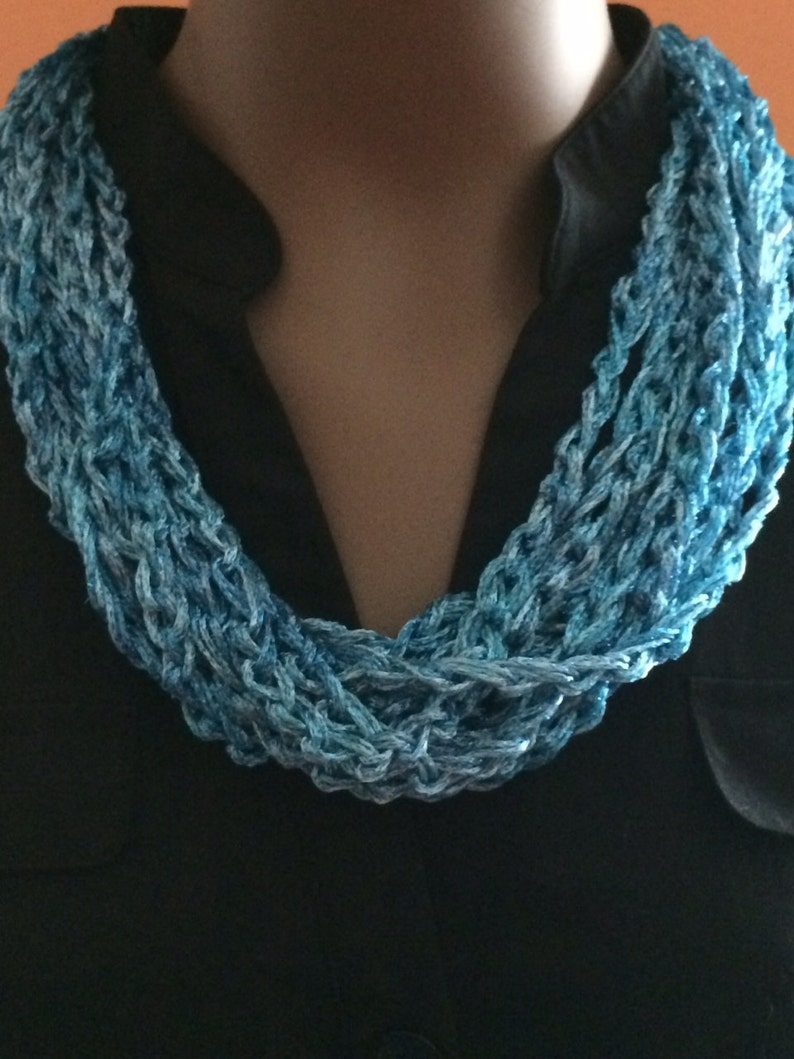 Crochet jewelry/blue necklace/gift for her/ loop image 0