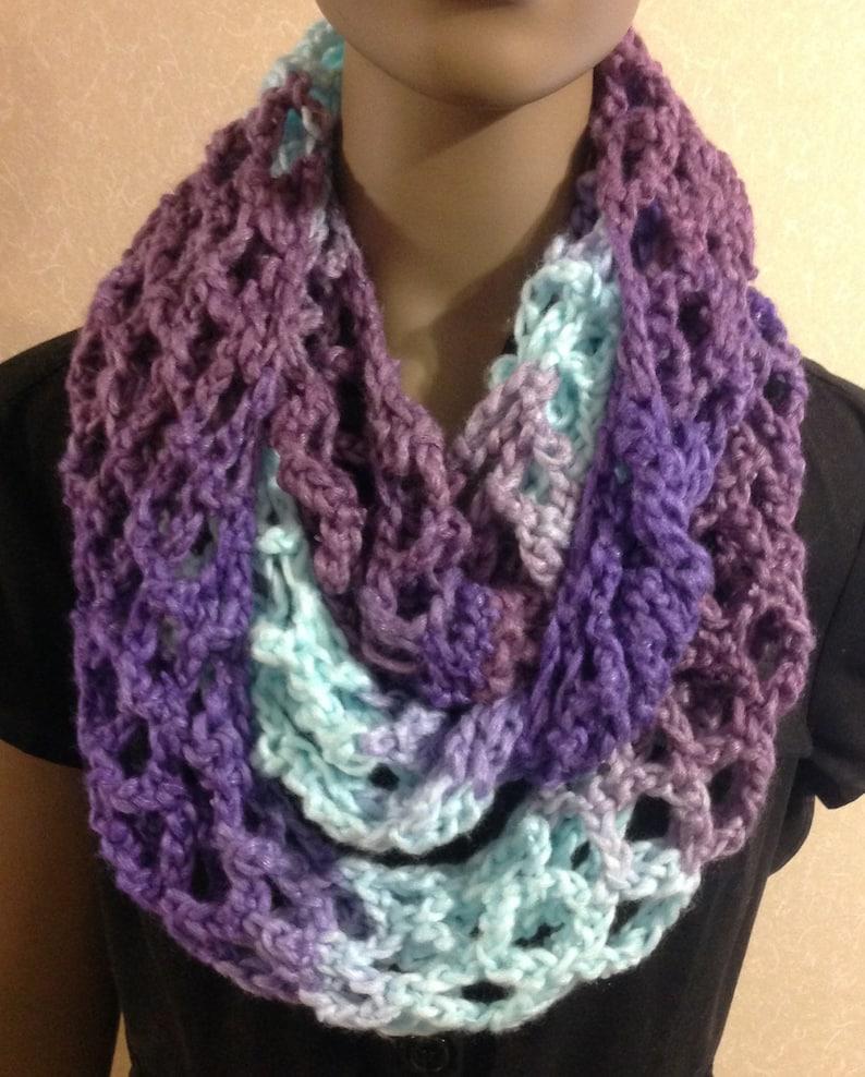 Infinity scarf/purple & blue/crochet  scarf/Christmas image 0