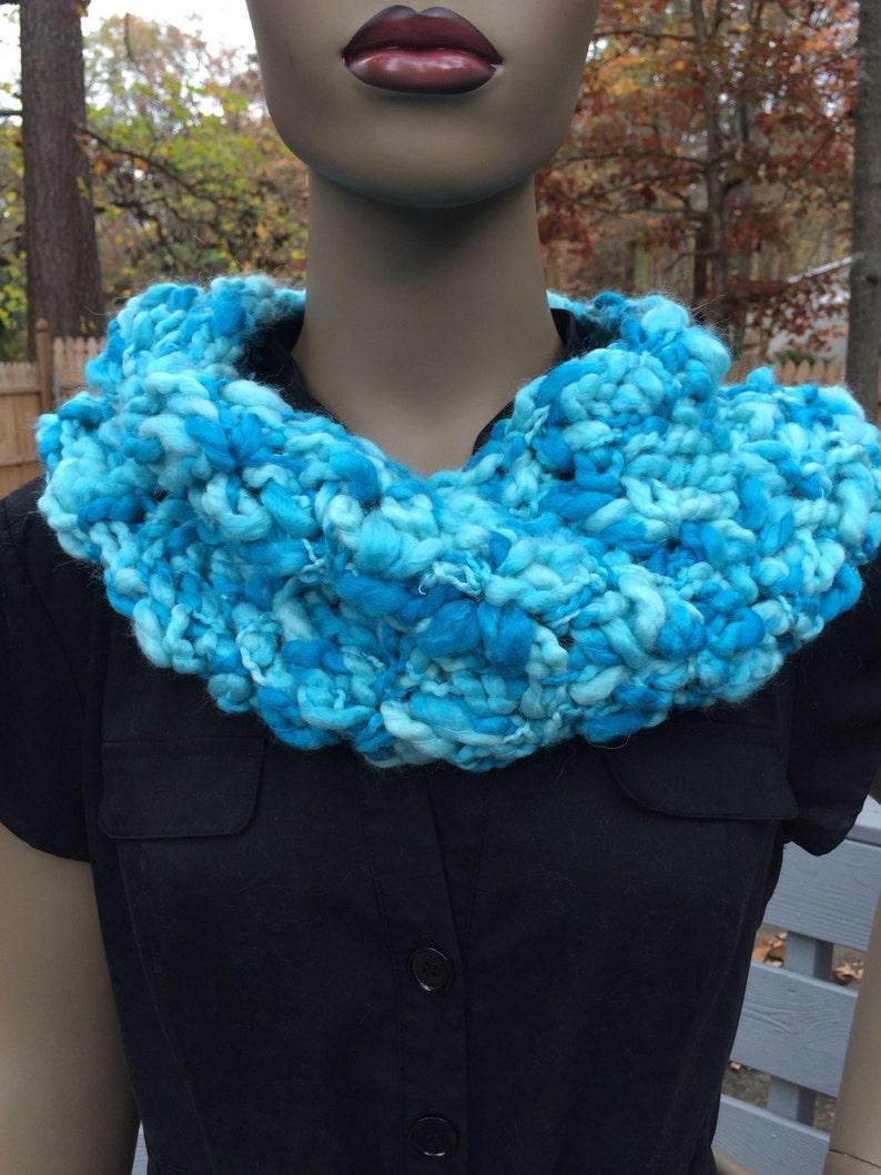 Blue cowl/gift for her/crochet scarf/women's image 0