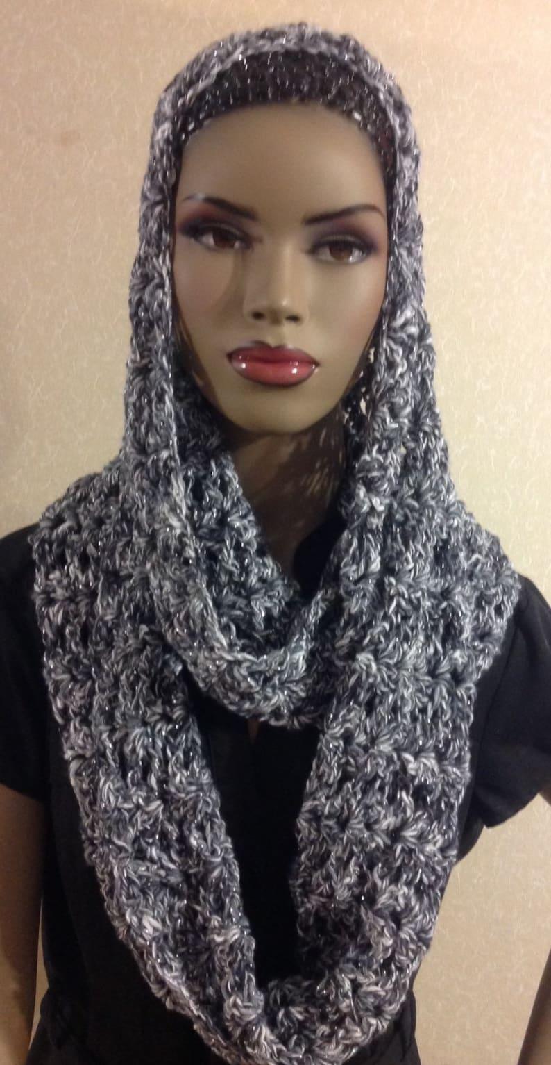Infinity scarf/crochet scarf/black & white scarf/loop image 0