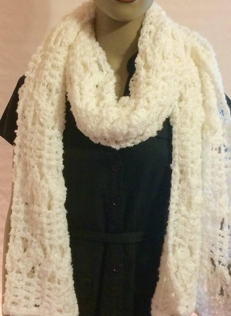 Crochet clothing/white shawl/crochet shawl/scarf/wrap/women image 0