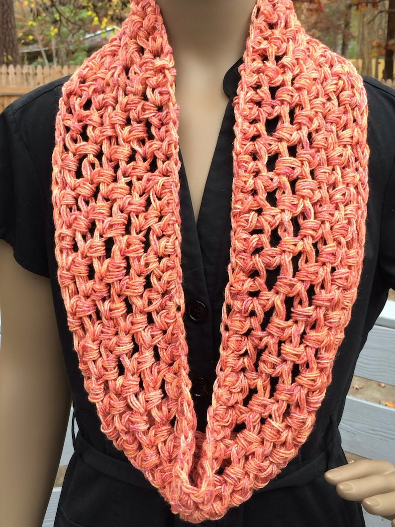 Infinity scarf/crochet scarf/orange long scarf/gift for image 0