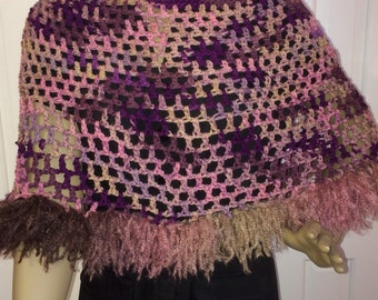 Poncho/crochet poncho/clothing/ pink & brown/crochet clothing/gift for her/wrap/women accessories/boho/crochet/ready to wear/free shipping