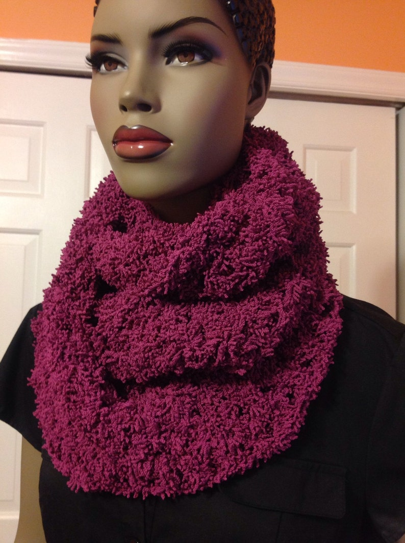 Infinity scarf/crochet scarf/mauve long scarf/gift for image 0
