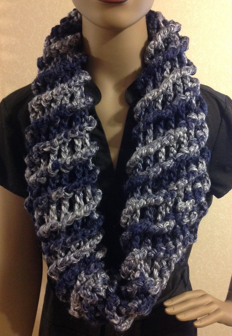 Infinity scarf/gray and blue/scarf/gift for her or him/circle image 0